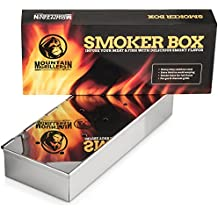 SMOKER BOX For Barbecues - Add Delicious Smoky BBQ Flavor to Your Grilled Meat - Smoke Wood Chips of Your Choice - Good for Gas Or Charcoal Grill - Won't Warp or Stain & Opens Easy with Hinged Lid