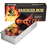 Smoker Box for Barbecues - Add Delicious Smoky BBQ Flavor to Your Grilled Meat - Smoke Wood Chips of Your Choice - Good for Gas Or Charcoal Grill - Won't Warp & Opens Easy with Hinged Lid