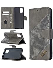 Miagon Samsung Galaxy S10 Lite Phone Case,Shockproof Crocodile Splicing PU Leather Flip Wallet Cases with Magnetic Kickstand Money Pouch Folio TPU Bumper Gel Protective Cover,Gray