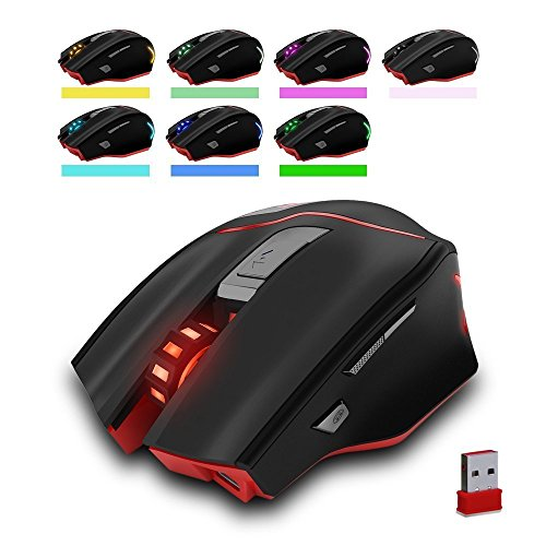 Zelotes Rechargeable Wireless Mouse with USB Receiver,600/1000/1600/2000/2400/3200DPI,7 Buttons 2.4GHz Portable Mobile Computer Wired Gaming Mice for Gamer,PC,Mac,Laptop,Macbook,Black by Zelotes (Image #3)