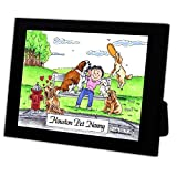 Personalized Friendly Folks Cartoon Caricature in a Color Block Frame Gift: Dog Lover - Female Great for animal rescue, pet sitter, dog walker