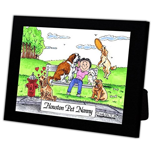 Personalized Friendly Folks Cartoon Caricature in a Color Block Frame Gift: Dog Lover - Female Great for animal rescue, pet sitter, dog walker by Printed Perfection (Image #4)
