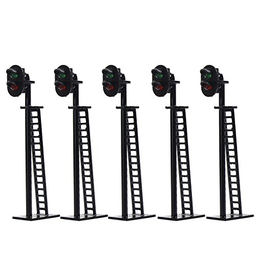 JTD03 5pcs Model Railway 2-Light Block Signal Green/Red HO Scale 6.4cm 12V Led Traffic Lights for Train Layout New ()