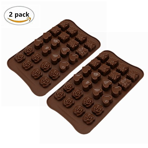 24-Cavity Mini Silicone Heart/Flower/Gift Box Shape Cake Molds, Ice Cube Chocolate Soap Cake Bread Jelly Candy Making Decorating Baking Mould Tray, Non Stick Flexible Silicone DIY Molds - 2 Pack
