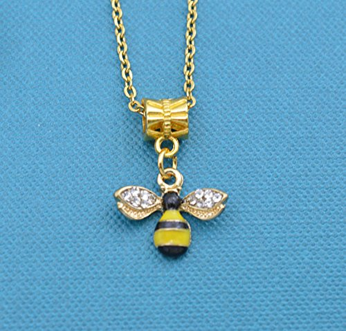 Girls, teens or womans bee charm pendant in gold toned metal and enamel. Little girls jewelry. Gift for Teen. Bee (Enamel Bee Pendant)