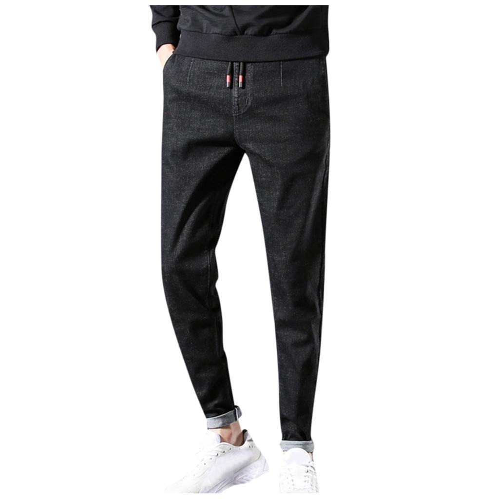 Armfre Bottom Mens Stretch Jeans Regular Fit Mid Rise Straight Leg Denim Jeans Cuffed Stretch Chino Jogger Pants Tapered Casual Workout Long Trousers by Armfre Bottom