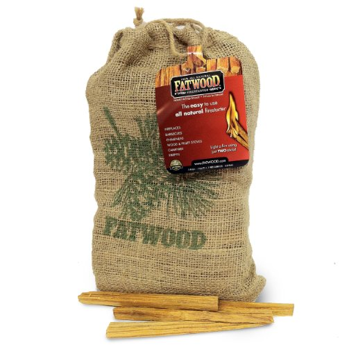 Fatwood Firestarter 9940 0.1 Cubic Feet Fatwood for Fireplace in Burlap Bag, 4-Pound