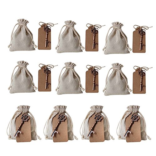 Awtlife 50 Pcs Wedding Favors Vintage Key Bottle Opener with Escort Card Tag and Linen Bag for Guests Party Favors Rustic -