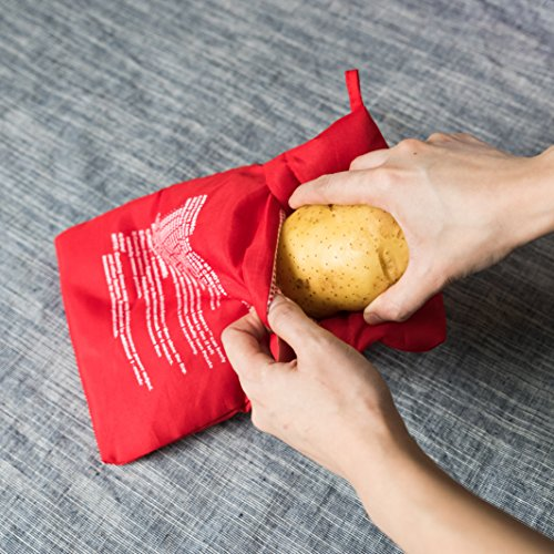 (2 Pack ) Microwave Potato Cooker Bag- Potato Express Pouch, Perfect Potatoes Just in 4 Minutes!- Red (How To Make Baked)