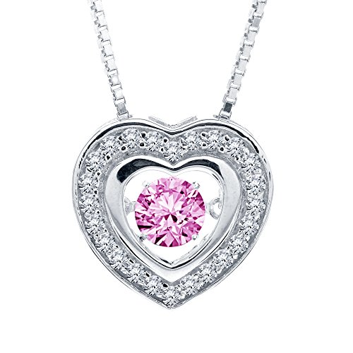 - SERAFINA❤️ Simulated Pink Sapphire and Sterling Silver Heart Pendant Necklace with 18