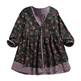 Women Print Top Pullover Cotton Linen Shirt Double Layer Fake Two Pieces Loose V Neck Coat Blouse by SanCanSn(Green,3XL)