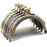 5pcs Dia.8.5cm 3.3 Inch Retro Half Round Bead Embossed metal Purse frame Coin Bag Kiss Clasp Lock DIY Craft Assorted 5 color /set