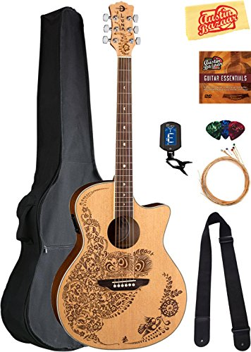 - Luna Henna Oasis Select Spruce Acoustic-Electric Guitar Bundle with Gig Bag, Strap, Strings, Tuner, Picks, Austin Bazaar Instructional DVD, and Polishing Cloth