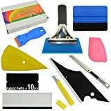 auto decal kit - FOSHIO Auto Vinyl Wrap Tool Kit 10 In 1 Include Rubber Squeegee 4 Inch Blue Card Squeegee and Fabric Felt, Plastic Razor Scraper , Utility Knife and Blades,Window Tint Application Tools
