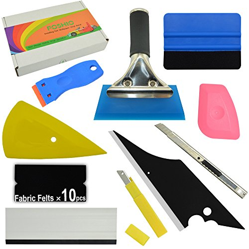 FOSHIO Auto Vinyl Wrap Tool Kit 10 In 1 Include Rubber Squeegee 4 Inch Blue Card Squeegee and Fabric Felt, Plastic Razor Scraper , Utility Knife and Blades,Window Tint Application Tools