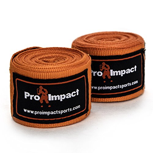 "Price comparison product image Pro Impact Mexican Style Boxing Handwraps 180"" with Closure – Elastic Hand & Wrist Support for Muay Thai Kickboxing Training Gym Workout or MMA for Men & Women - 1 Pair (Orange)"