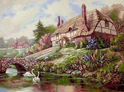 (ABEUTY DIY Paint by Numbers for Adults Beginner - Duck & Pastoral Cottage 16x20 inches Number Painting Anti Stress Toys (Wooden Framed) )