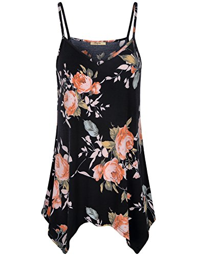 Cestyle Floral Pattern Tops for Women,2018 Fashion V Neck Flower Sleeveless Tank Shirts Lovely Cute Spaghetti Strap Aline Flowy Tunic Camisoles Multi-Black ()