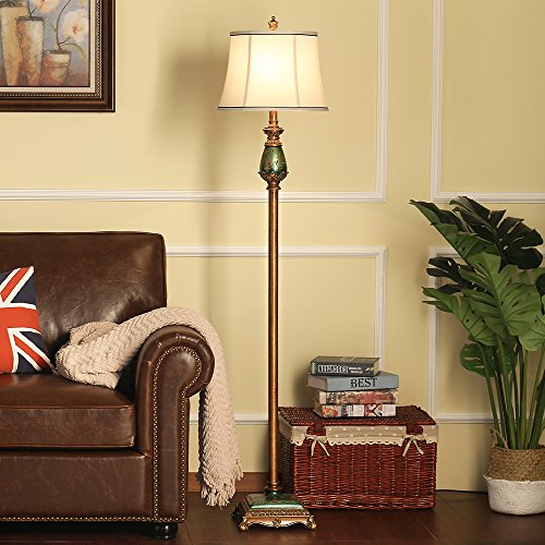 LampRight Classic European Country Style Hand Painted Retro Floor Lamp 64 inch - Traditional Elegant Delicate Resin Base, Unique Artistic Hand Painted Body and Original Fashion Fabric Lampshade by Lamp Right (Image #4)