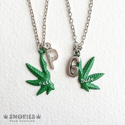 Custom BEST BUDS Marijuana Necklace, personalized, name, marijuana jewelry ,stoner gift, BFF, marijuana gift weed necklace (Best Buds Necklace Marijuanas)