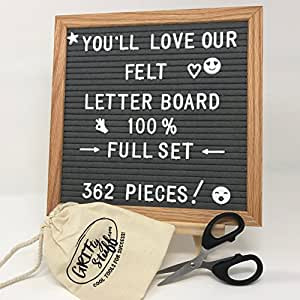 Felt Letter Board Set - Premium Grey, 362 Letters, Sturdy Stand, Accessories -use Boards for Business Sign, Decorations, Kids love them - Small Square Wooden Sign w/Hanger, Scissors, Bag Organizer