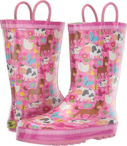 aby Girl's Limited Edition Printed Rain Boots (Toddler/Little Kid/Big Kid) Pasture Pals Pink 2 M US Little Kid ()