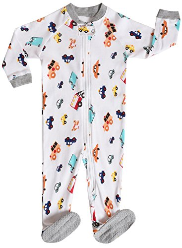 Little and Baby Boys Footed Truck Pajamas Sleeper 100% Cotton Size 2T