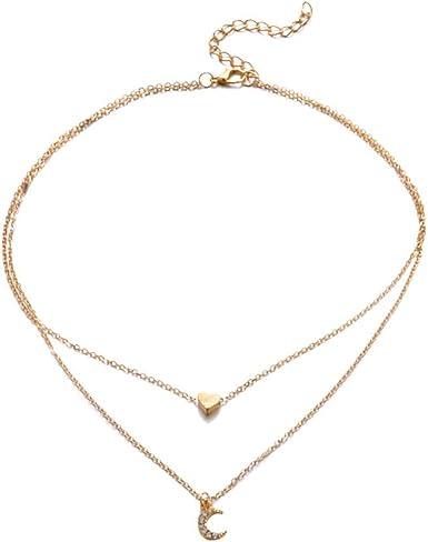 Women/'s Fashion Jewelry Moon Star Choker Gold Silver Long Chain Pendant Necklace