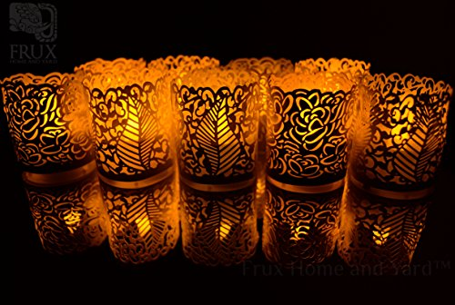 Frux Home and Yard Flameless Yellow Flickering LED Battery Powered Tealight Candles with Bonus Decorative Tealight Wraps (48 Pack)