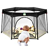 BABYSEATER Portable Playard Play Pen with Carrying Case for Infants and Babies, Beige