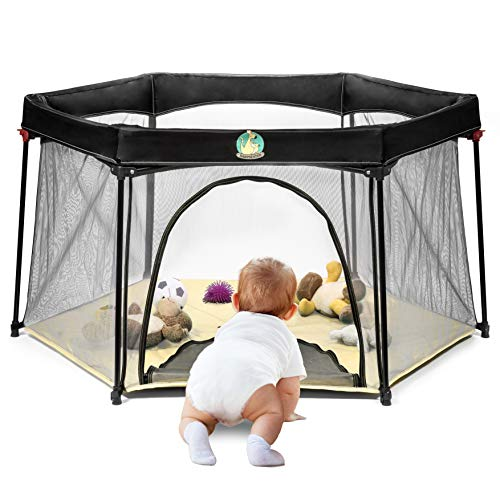 Portable Playard Play Pen for Infants and Babies - Lightweight Mesh Baby Playpen with Carrying Case - Easily Opens with 1 Hand (Beige)