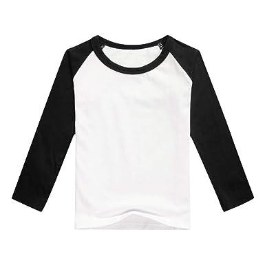 11be0612 Unisex Kids Raglan Shirts Boys Girls Baseball Long Sleeve T-Shirt Toddler  Baby Cotton Tee