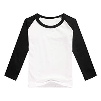 0d6792cf6c96c Unisex Kids Raglan Shirts Boys Girls Baseball Long Sleeve T-Shirt Toddler  Baby Cotton Tee