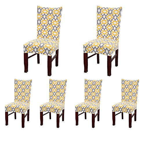 SoulFeel Set of 6 x Stretchable Dining Chair Covers, Spandex Chair Seat Protector Slipcovers for Holiday Banquet, Home Party, Hotel, Wedding Ceremony (Yellow Weave) (Covers Table Chairs Dining)