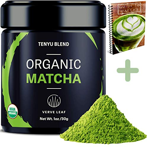 Verve Leaf Organic Japanese Ceremonial Grade Matcha - Quality Authentic Matcha With a Bright Vivid Green Colour - Our Pure Matcha Provides Sustained Energy and Boosts Your Metabolism-Tenyu Blend (30g)