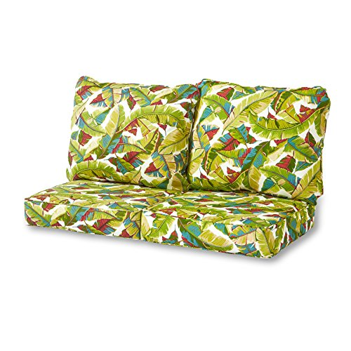 Greendale Home Fashions Deep Seat Loveseat Cushion Set, Palm Multi