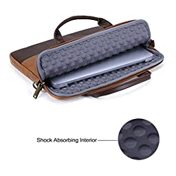 13.3 inch Laptop Shoulder Bag, Evecase PU Leather Modern Business Tote Briefcase Laptop Messenger Bag with Accessory Pockets ( Fits Up to 13.3-inch Macbook, Laptops, Ultrabooks) - Brown