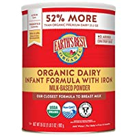 Earth's Best Organic Dairy Infant Powder Formula with Iron, Omega-3 DHA and Omega...