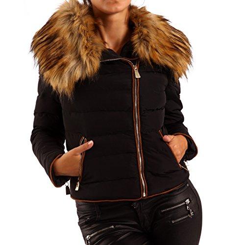 Piel sintética de invierno al aire libre–Chaqueta acolchada chaqueta para mujer negro