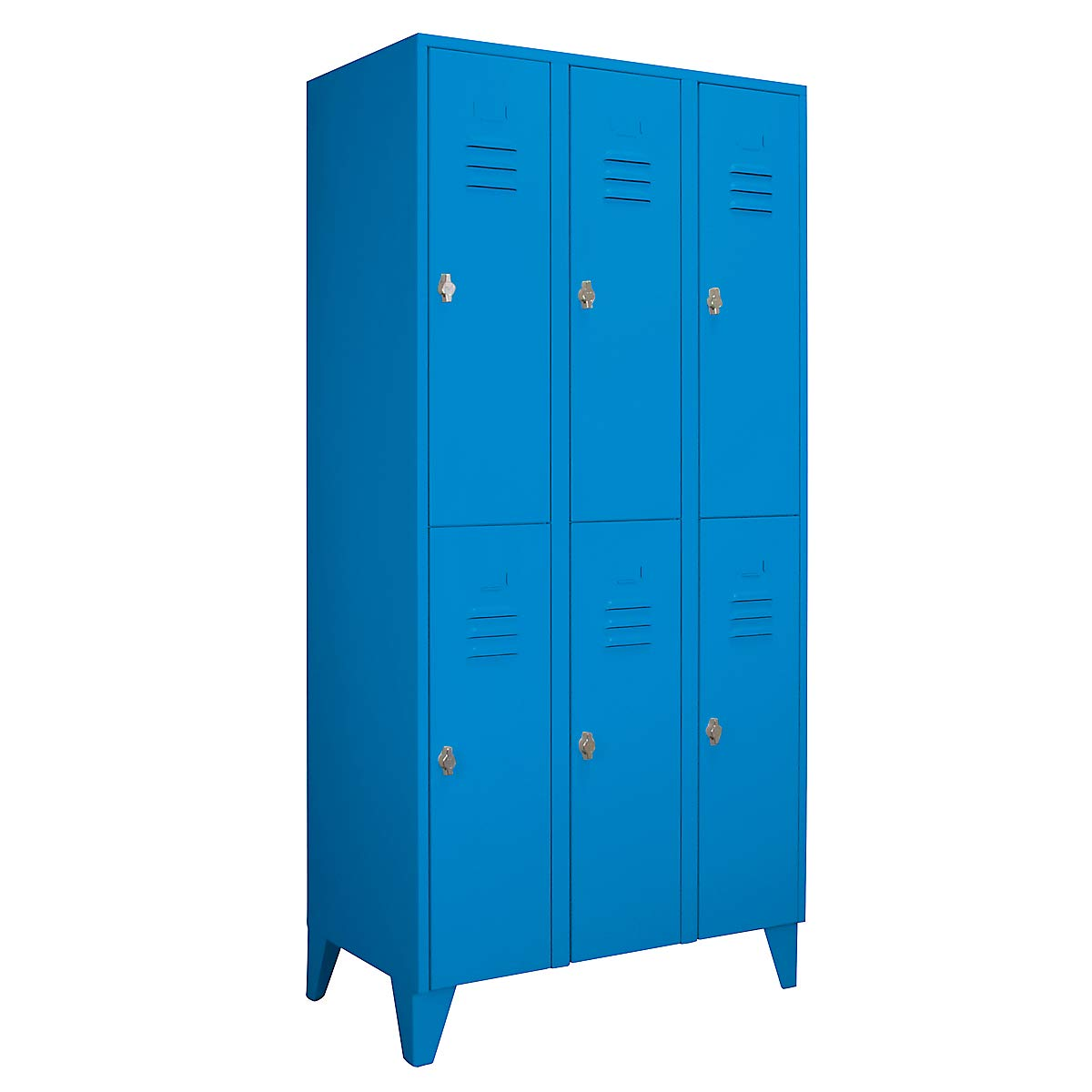 compartiments s/épar/és horizontalement Wolf Vestiaire m/étallique sur pieds bleu clair largeur compartiments 300 mm portes /à parois pleines 6 compartiments armoire armoire de vestiaire armoire m/étallique armoire po