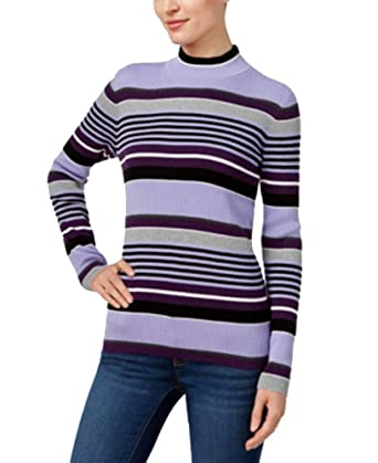 5be73204728 Karen Scott Cotton Striped Mock-Turtleneck Sweater