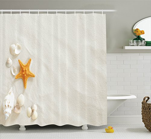 Ambesonne Seashells Decor Collection, Beach With a Lot of Seashells and Starfish Marine Nature Sand Relaxing Warm Weather Image, Polyester Fabric Bathroom Shower Curtain Set with Hooks, Ivory (Beach Collection Sand)