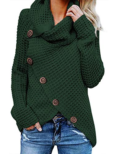 Asvivid Womens Turtleneck Cowl Neck Button Asymmetric Wrap Fall Loose Knit Pullover Sweater Coat Outerwear L Green