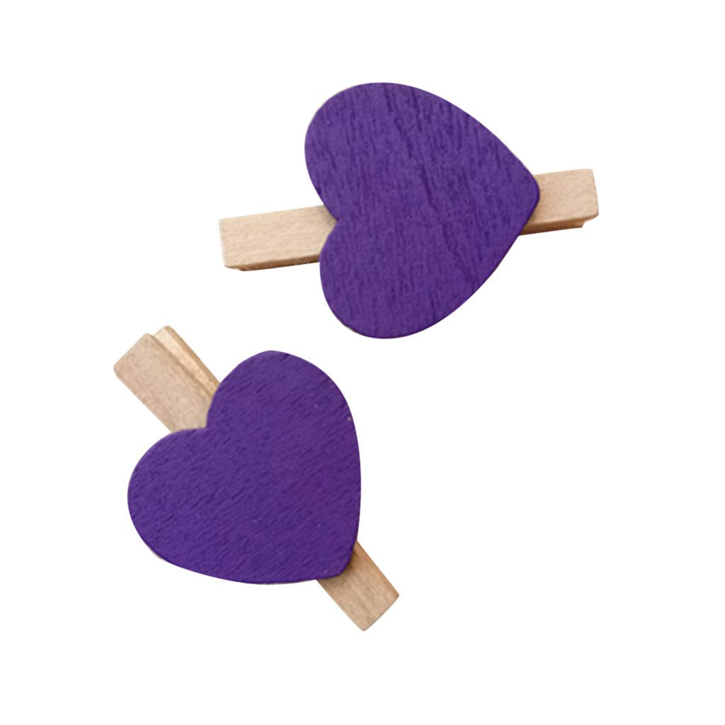 Kanhan 10 PCS Mini Heart Love Wooden Clothes Photo Paper Peg Pin Clothespin Craft Postcard Clips Home Decoration (Purple)