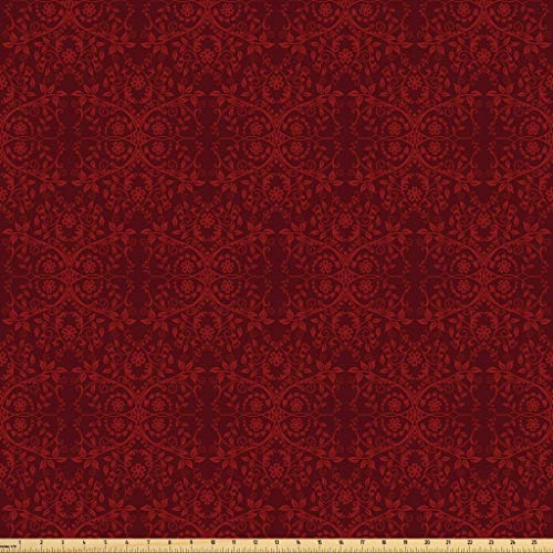 Lunarable Burgundy Fabric by The Yard, Intricate Spring Motifs Abstract Style Blossoming Branches Flower Buds, Microfiber Fabric for Arts and Crafts Textiles & Decor, 2 Yards, Burgundy Red from Lunarable