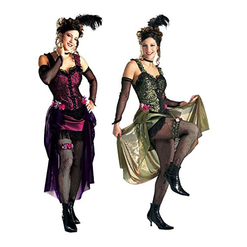 Saloon Girl Costume Sexy Deluxe Western Halloween Fancy Dress (Small) ()