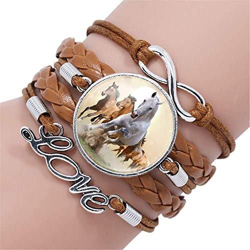 Attrastores Sweet Fashion Horse Love Leather Infinity Wrap Bracelet Bangle for Women Handmade Glass Cabochon Horse Jewelry Best Gift,12003317