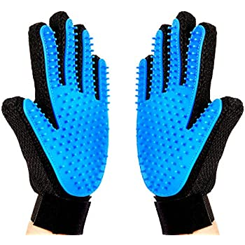 Pet Grooming Glove,2-in-1 Hair Remover Mitt Gentle Deshedding Brush and Massage Tool for Dog, Cat, Horses with Long Short Fur