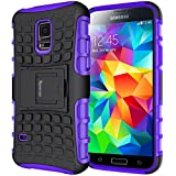 Case For Galaxy S5,Samsung Galaxy s5 Case,Heavy Duty Rugged Shockproof Dual Layer Hybrid Armor Case For Samsung Galaxy S5 SV I9600 with Built-in Kickstand (Purple)