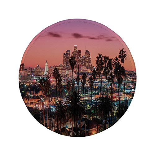 Non-Slip Rubber Round Mouse Pad,United States,Vibrant Sunset Twilight Scenery Los Angeles Famous Downtown with Palm Trees Decorative,Multicolor,7.87